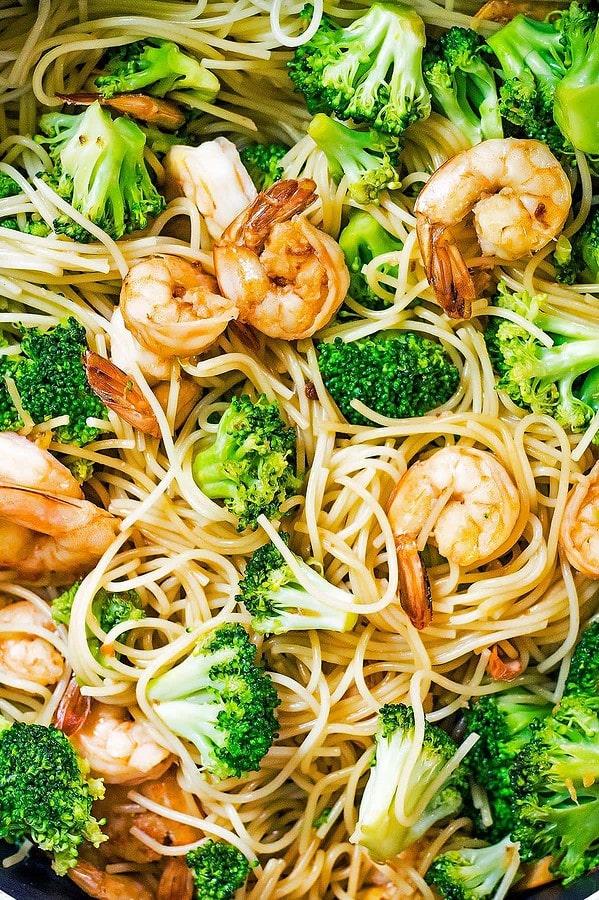 Teriyaki Noodle Shrimp Bowl
