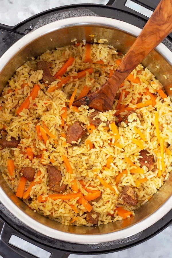 Fluffed up Instant Pot Rice Pilaf with beef and carrots