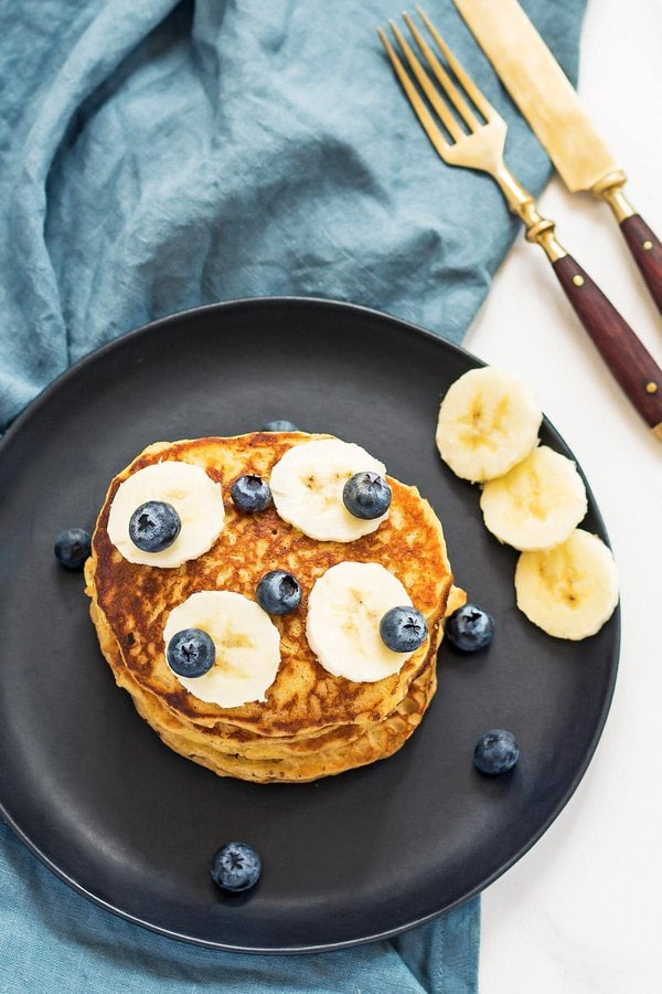 Sourdough Discard Pancakes on plate with fruit