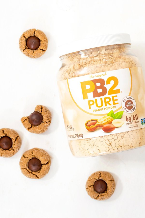 GF Peanut Butter Blossoms with PB2 Pure Container