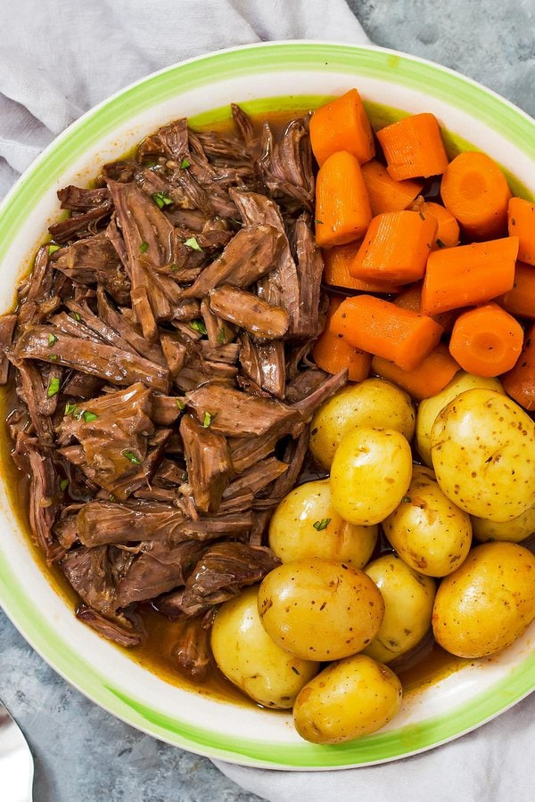 Instant Pot Beef Chuck Roast with Potatoes and Carrots on Platter