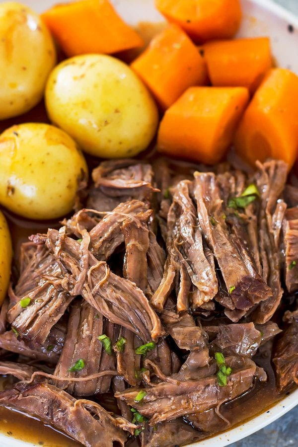 Shredded Instant Pot Pot Roast with Potatoes and Carrots
