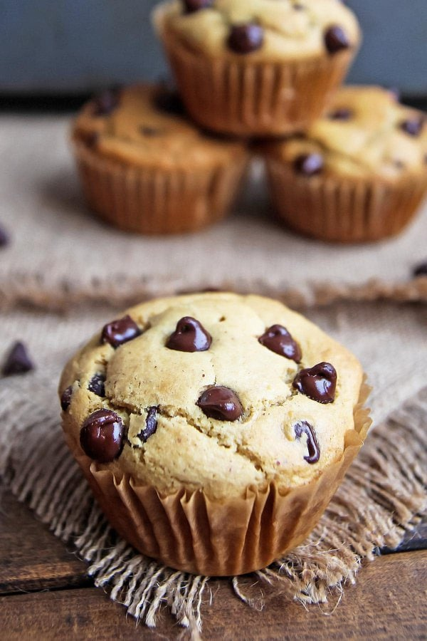 Chocolate chip peanut butter muffins, large one in front, 3 flurry in background