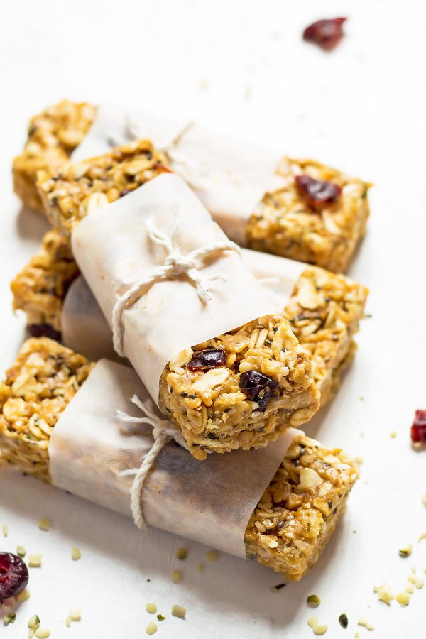 Homemade Superfood Cereal Bars wrapped with parchment and twine