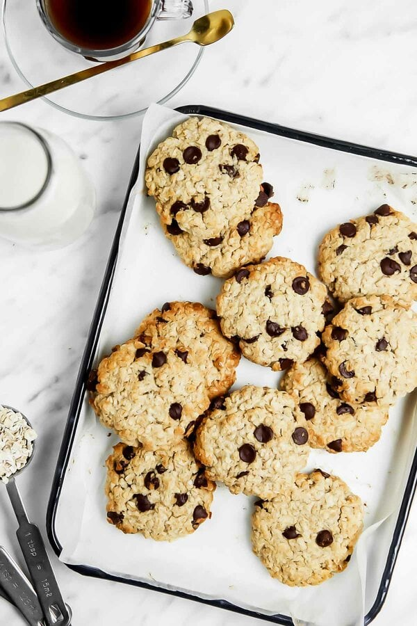 Baked coconut flour oatmeal cookies on a tray