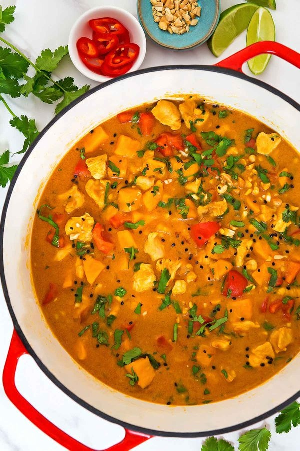 Sweet Potato Peanut Curry in red Dutch oven
