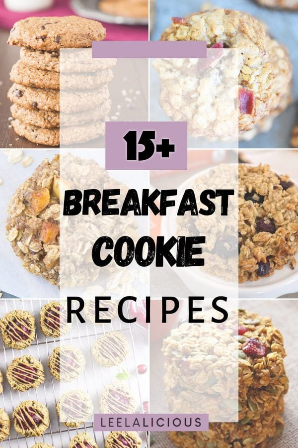 Collage of 6 breakfast cookie recipes pictures