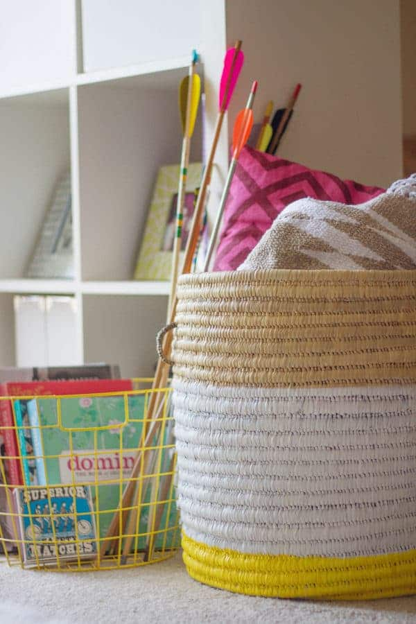 painted woven baskets