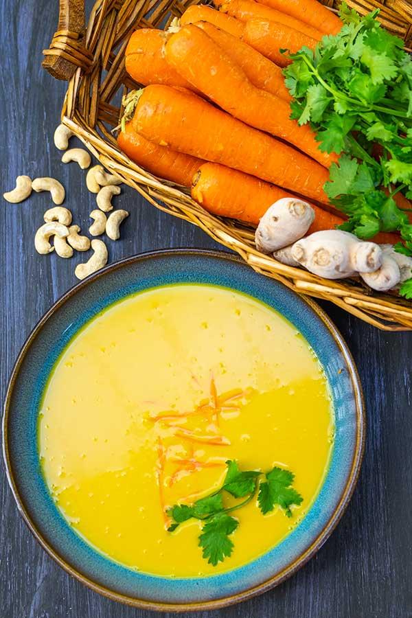 carrot ginger soup, vegan