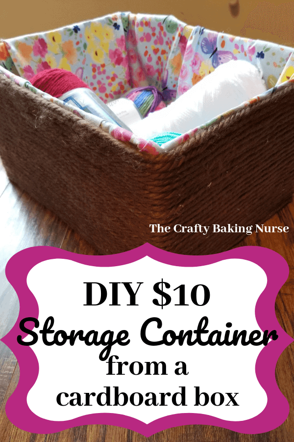 Make a storage container from a cardboard box for 10 dollars.