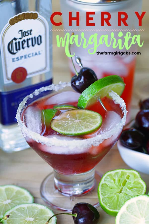 Ready for the perfect summer drink? Mix up a pitcher of this Cherry Margarita Recipe for your next summer celebration. #margarita #cocktails #drinkrecipe #margaritarecipe #cincodeymayo