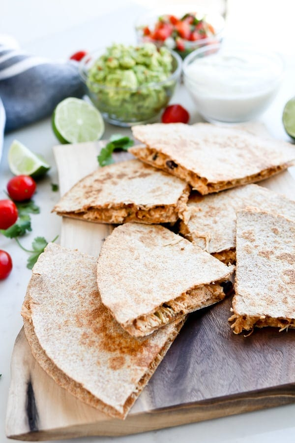 Instant Pot Mexican Inspired Healthy Crack Chicken on a quesadilla