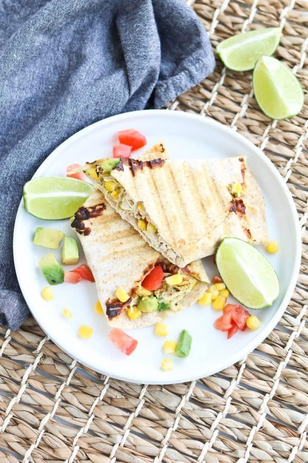 Instant Pot Chipotle Ranch Chicken Panini on a plate