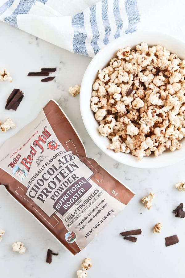 Instant Pot Chocolate Popcorn in a white bowl