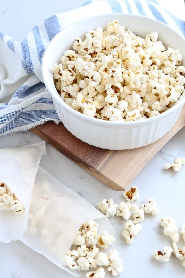 Instant Pot Popcorn in a white bowl