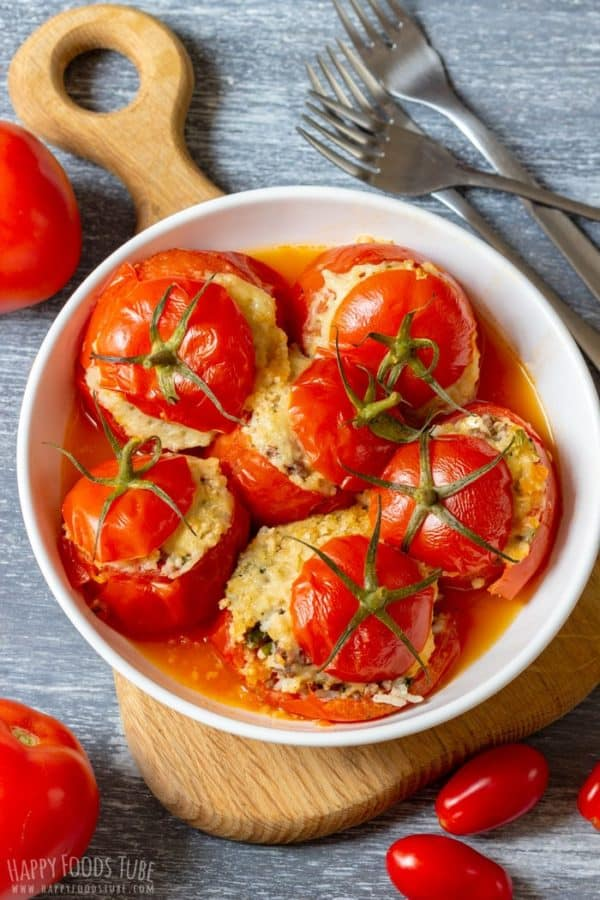 Stuffed tomatoes with cheese and rice