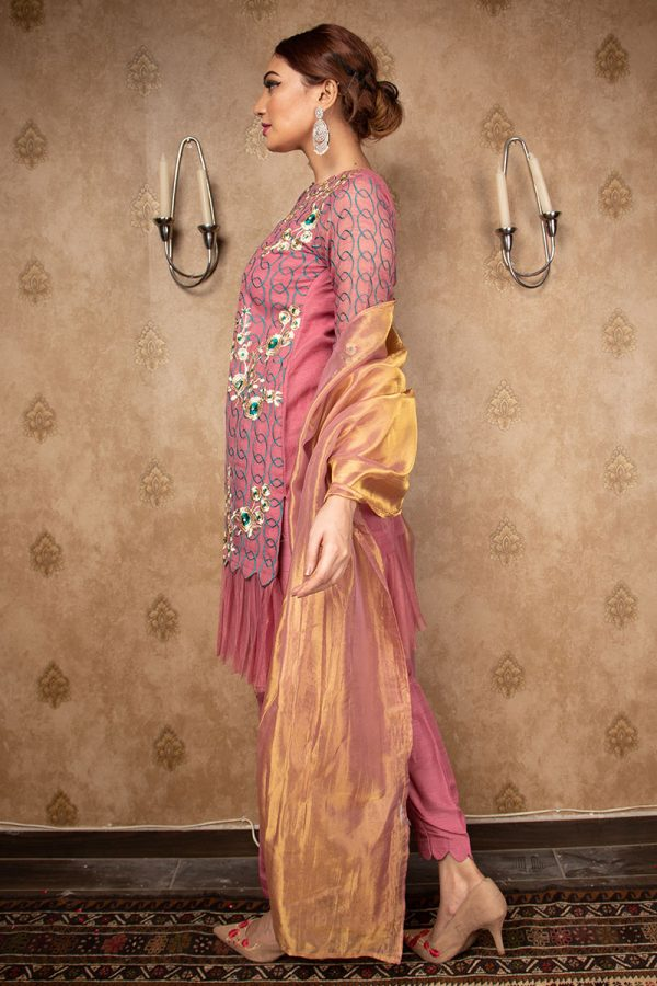 Buy Exclusive Mauve Party Wear – Aqs212 Online In USA, Uk & Pakistan - 01