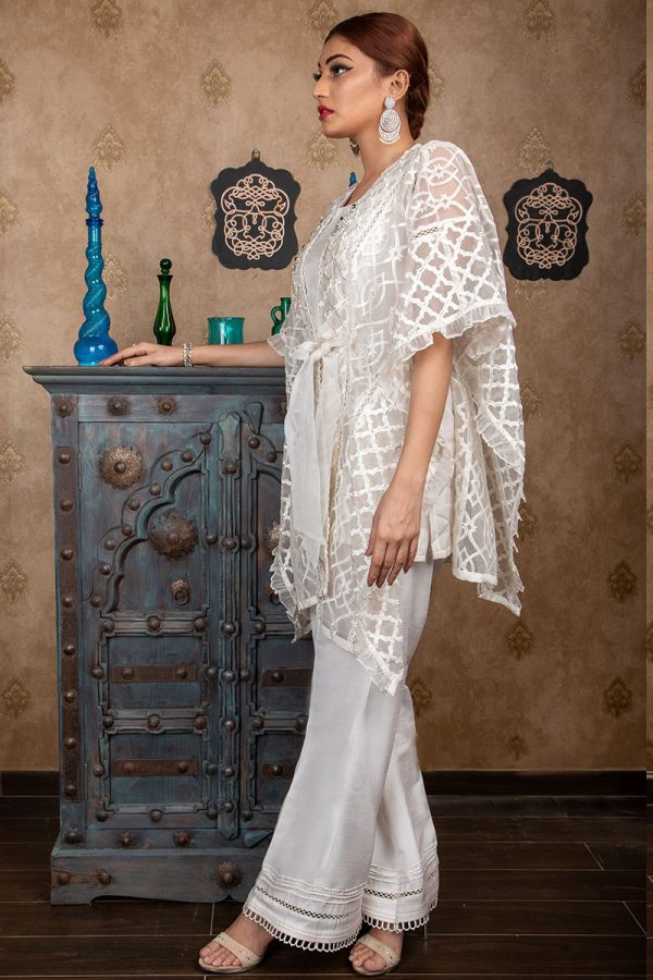 Buy Exclusive Off-White Party Wear – Sds383 Online In USA, Uk & Pakistan