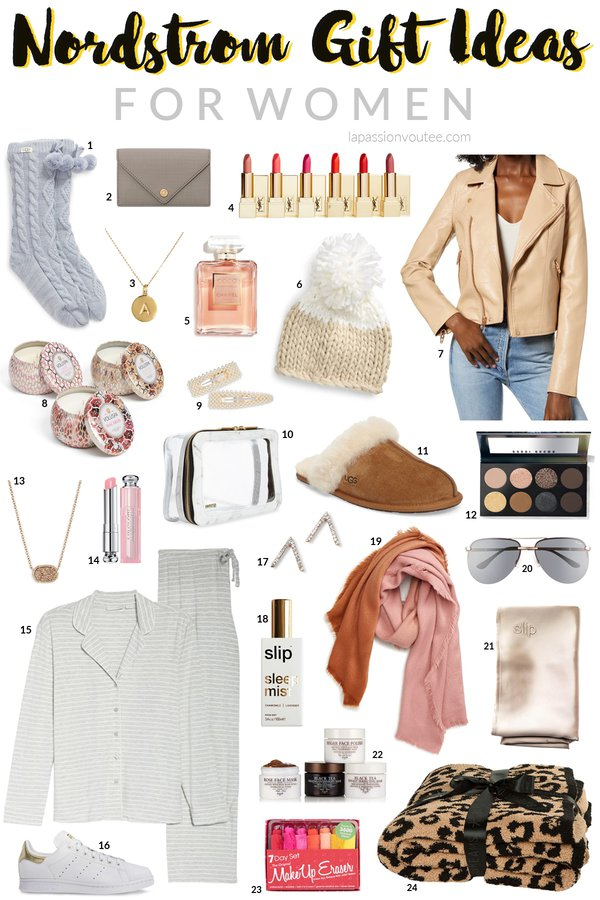 Amazing last minute Nordstrom gifts for her (women, wife, partner, grannies, and daughters) this year. From top-rated BlankNYC moto jackets, cozy socks, and pampering facial mask to  stunning and affordable jewelry, makeup, and comfy loungewear slippers. #nordstrom #nordstromgifts
