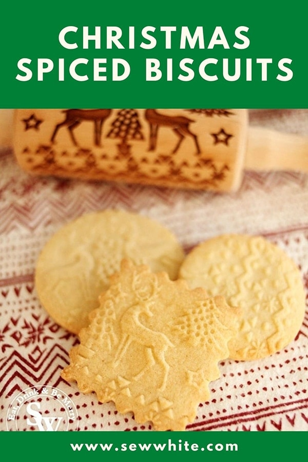 Embossed Rolling Pin Biscuit Recipe for a Christmas spiced recipe.