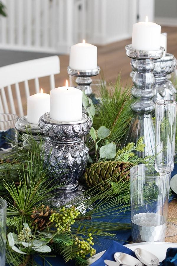 glass candlesticks dinner table