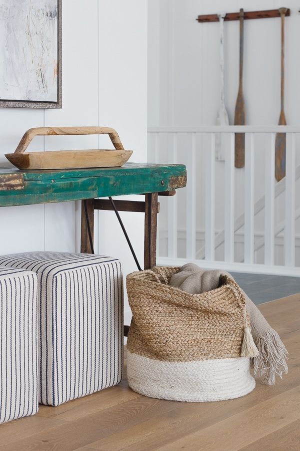 wooden tray green console table striped ottomans