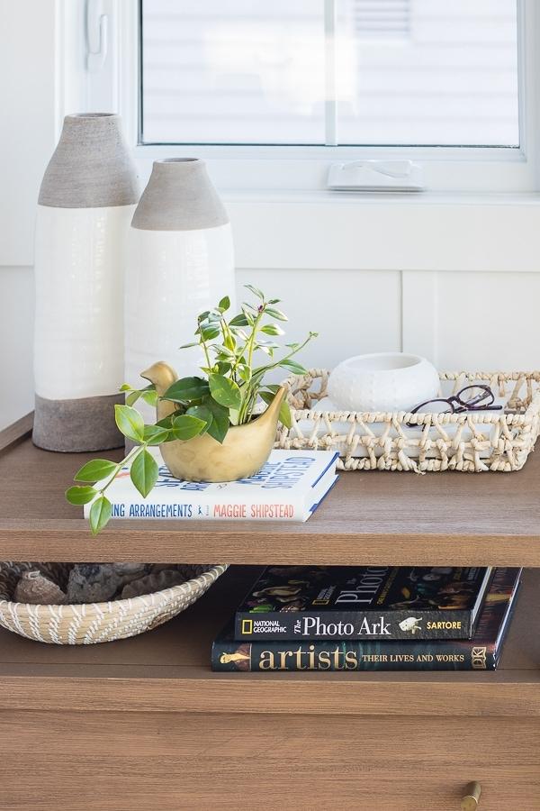 wood 2 drawer nightstands bird planter