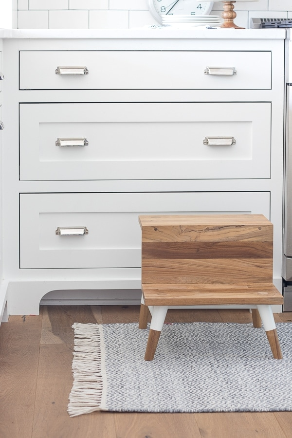 white and wood kitchen step stool