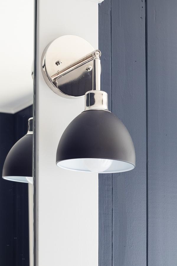 black and chrome bathroom vanity lights