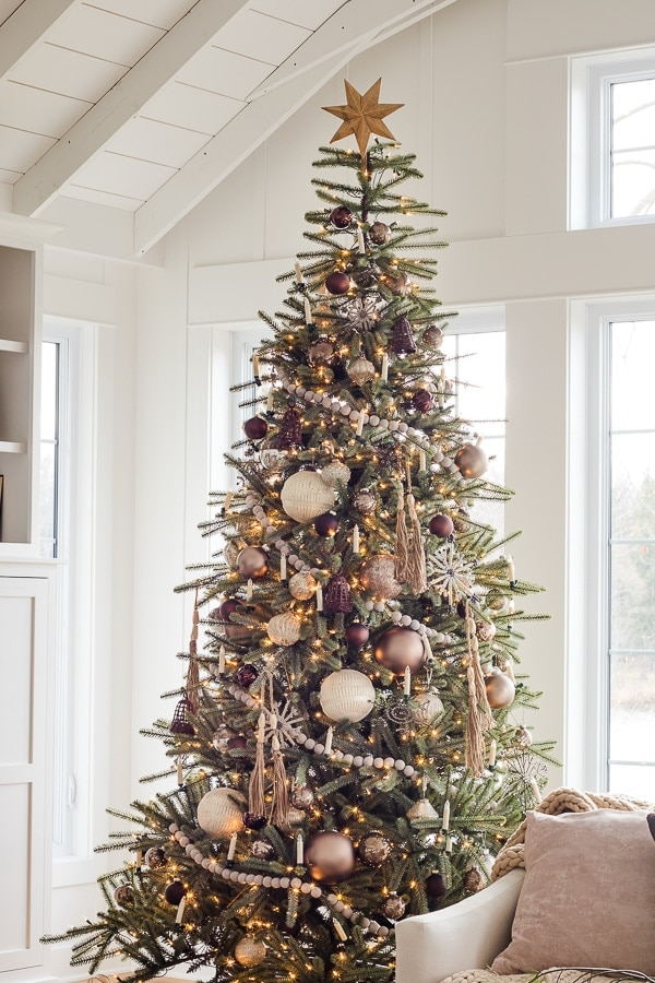 bronze, browns, wood tone, Christmas ornaments on a Christmas tree