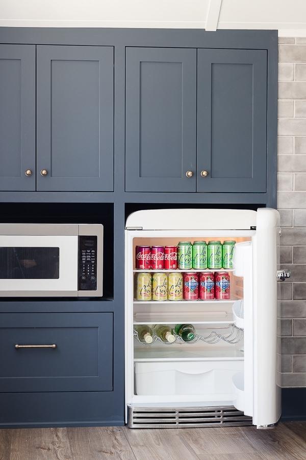 retro mini fridge snack bar