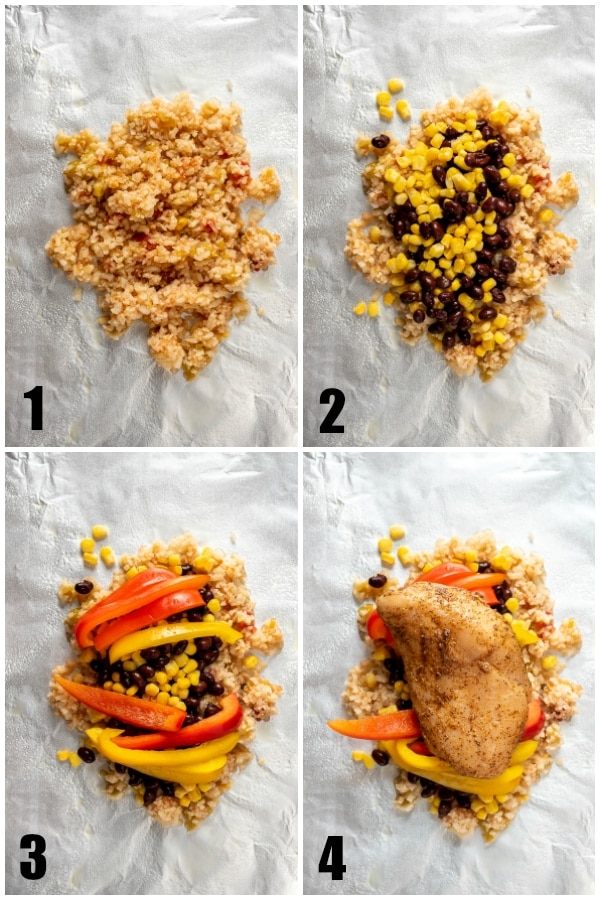 Photo collage showing steps to layer a foil packet chicken dish.