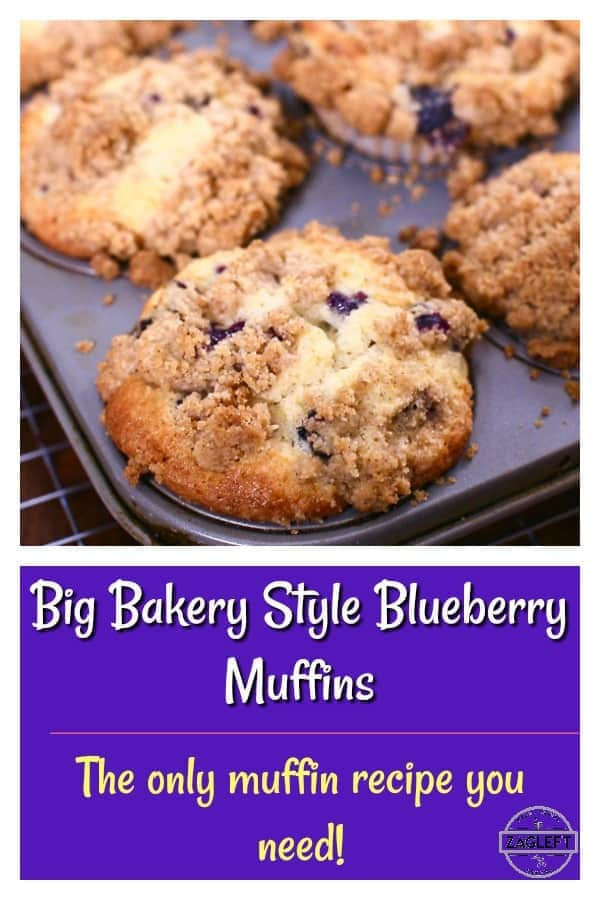 Big, bakery style Blueberry Muffins with a buttery crumb topping and loaded with juicy blueberries. The only blueberry muffin recipe you need! | ZagLeft #blueberries #muffins #bakery#breakfast