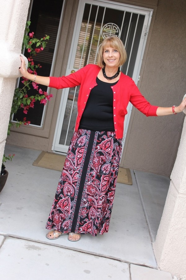 Red Cardigan Maxi Skirt | 40plusstyle.com