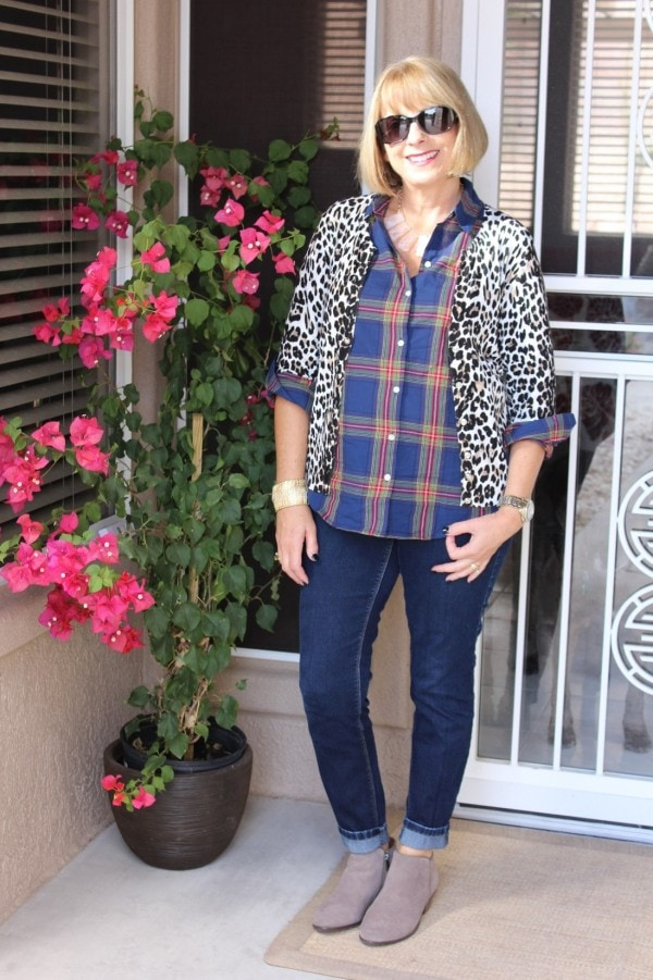 Leopard Print Plaid Top Mixed | 40plusstyle.com