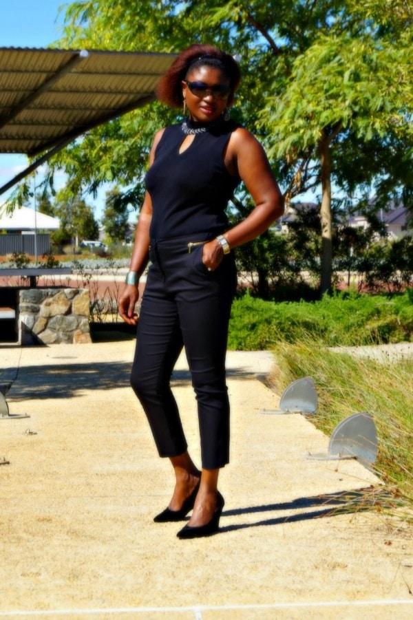 Black Cropped Pants Black Sleeveless | 40plusstyle.com