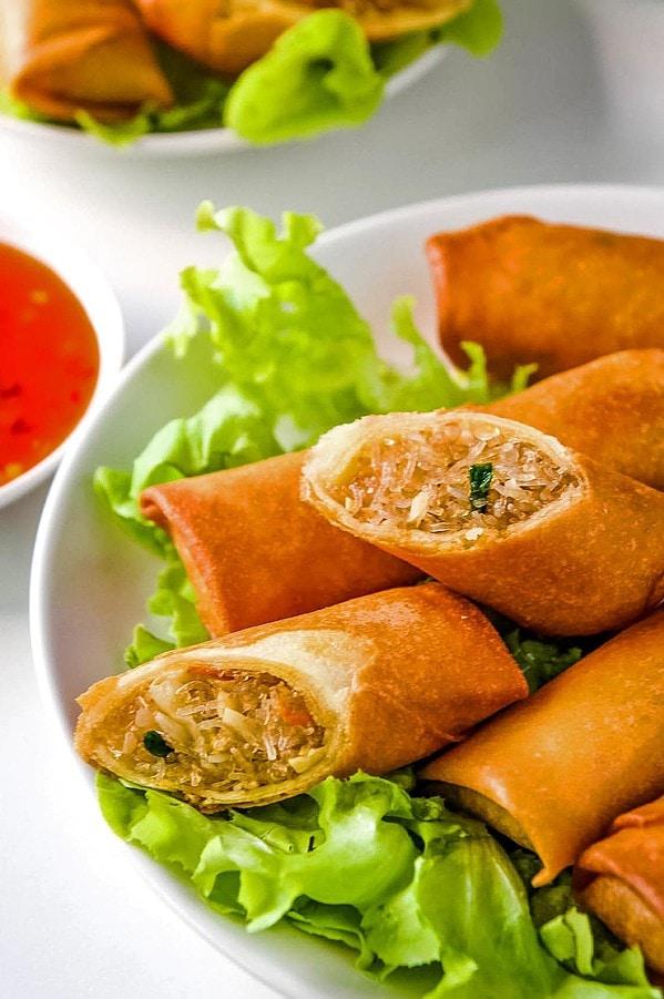 Thai Spring Rolls on lettuce