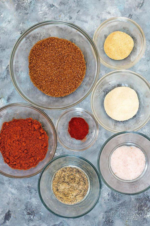Dry Rub Ingredients in individual bowls