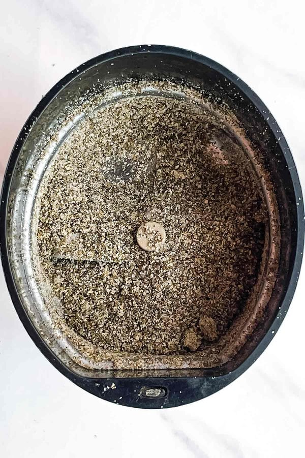 Ground chia seeds in coffee grinder
