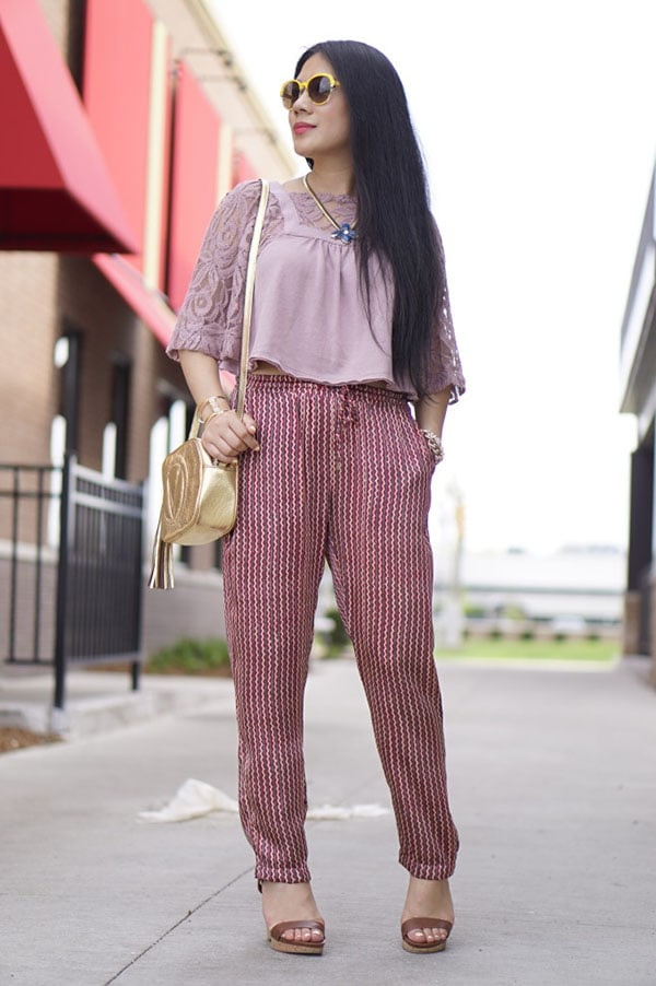 High waisted pants with lace crop top outfit idea | 40plusstyle.com