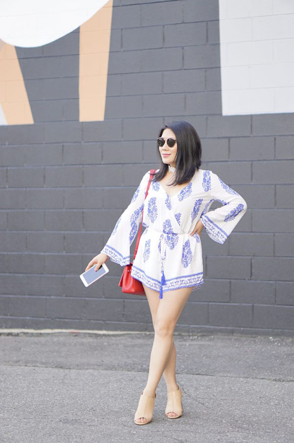 Outfit idea for women over 40: Trumpet sleeve white romper | 40plusstyle.com