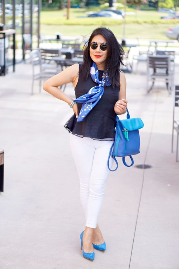 Peplum top with scarf and white pants | 40plusstyle.com