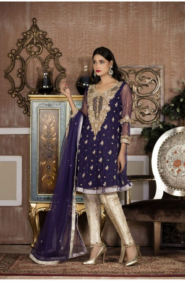 Buy Exclusive Boutique Blue And White Bridal Wear – G14103 Online In USA, Uk & Pakistan