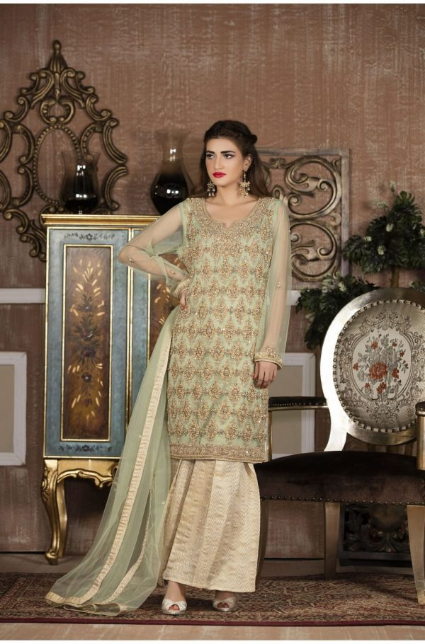Buy Exclusive Boutique Pista Green And Off-White Bridal Wear – G14137 Online In USA, Uk & Pakistan - 02