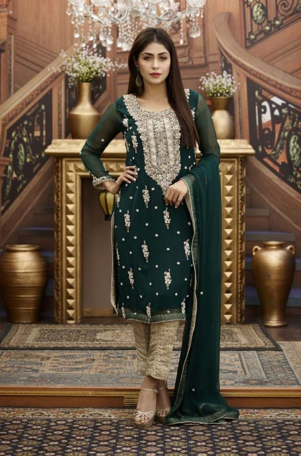Buy Exclusive Bottle Green And Golden Bridal Wear – G16468 Online In USA, Uk & Pakistan