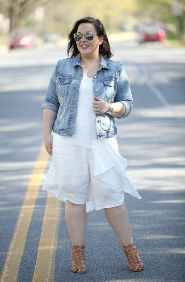 Denim jacket and white dress outfit   40plusstyle.com