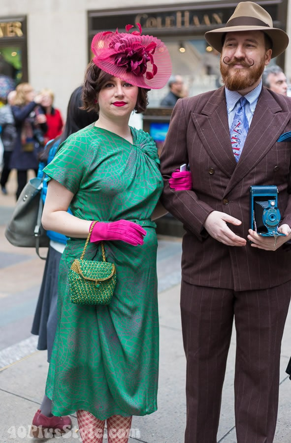 Green detail dress and pink gloves | 40plusstyle.com