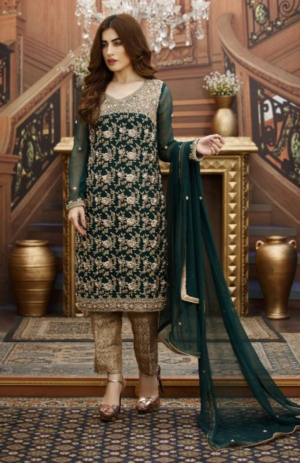 Buy Exclusive Bottle Green And Fone Bridal Dress – G16347 Online In USA, Uk & Pakistan