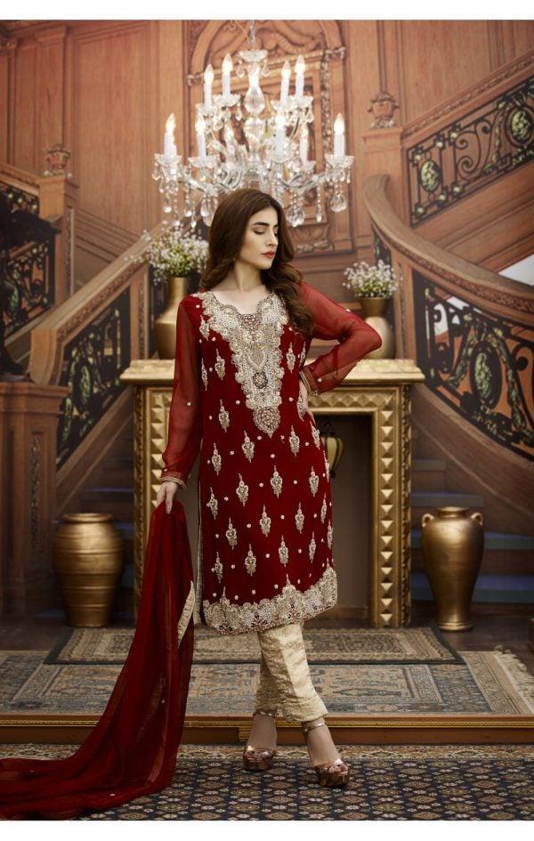 Buy Exclusive Maroon And Golden Bridal Wear – G16229 Online In USA, Uk & Pakistan -