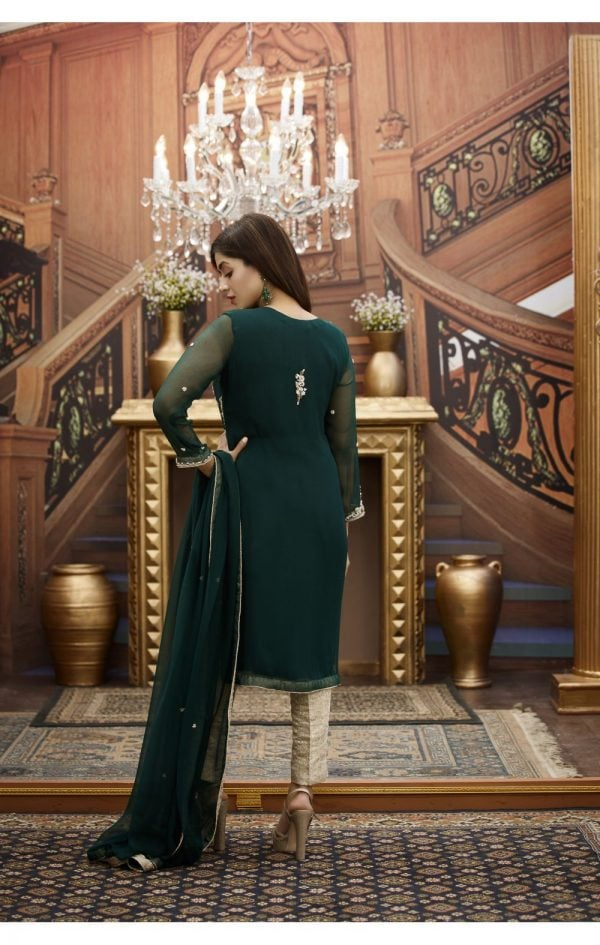 Buy Exclusive Bottle Green And Golden Bridal Wear – G16468 Online In USA, Uk & Pakistan - 02